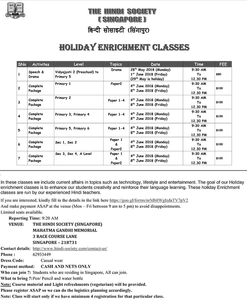 Enrichment Classes May-June 2018- SCHEDULE-1